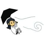 """knytt flyger med ett paraply logo till indiespelet """"knytt stories"""""""