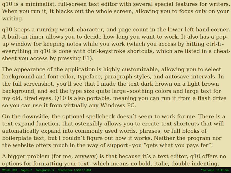 q10 minimalistisk ordbehandlare